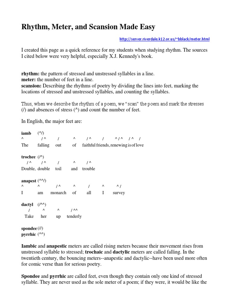 Rhythm, Meter, And Scansion Made Easy | Metre (Poetry) | Rhyme