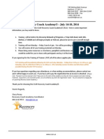 Recovery Coach Academy Confirmation Letter July 2014