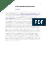 Methods and Models for Shot Peening Simulation
