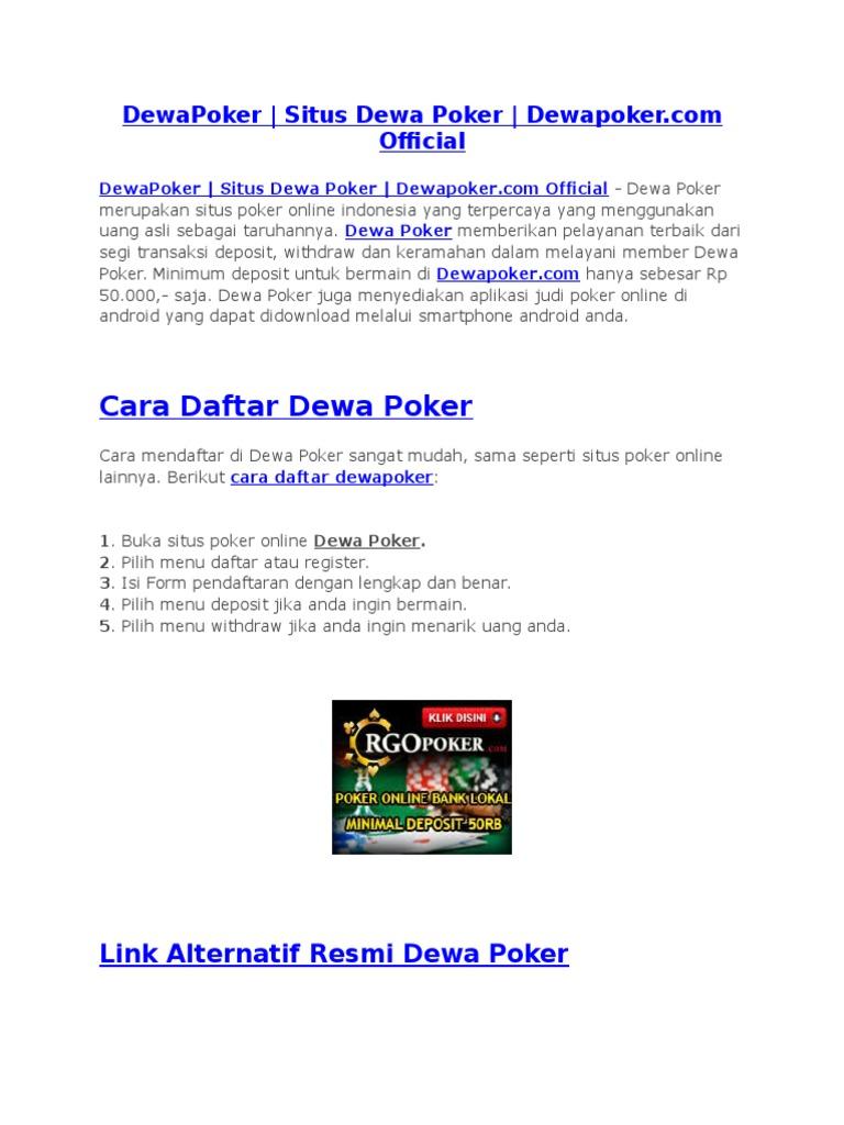 Dewapoker Situs Dewa Poker Dewapoker Com
