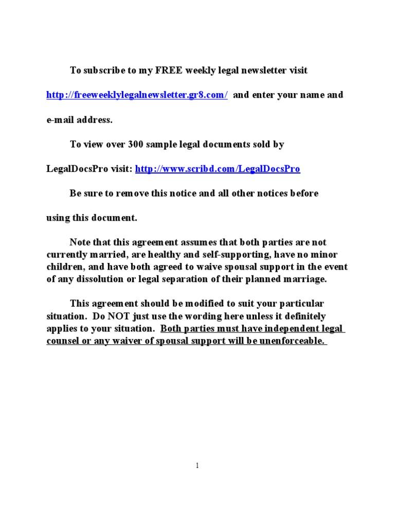 Sample Premarital Prenuptial Agreement For California