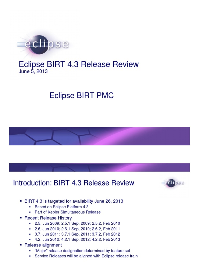 Eclipse BIRT 4 3 Release Review | Eclipse (Software