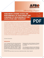 Tanzanian Citizens Assess the Performance Of Parliament And Consider Its Responsibility For Legislation And Oversight