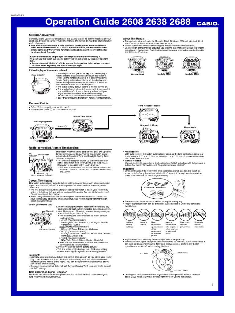 casio g shock solar 2688 watch daylight saving time rh scribd com Casio G-Shock Instruction Manual Casio 2688 GW-500A Manual