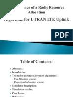 Radio Resource Allocation in UL