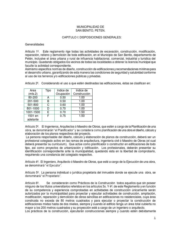 Reglamento de Construccion San Benito