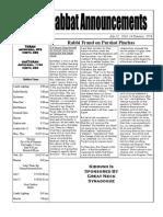 Shabbat Announcements   July 12, 2014