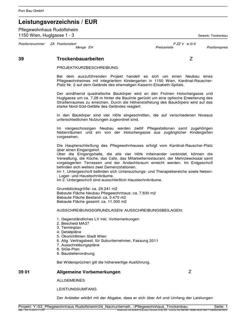 01 Leistungsverzeichnis Trockenbauarbeiten