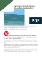 Australia Must Give 72 Hours' Notice Before Returning 153 Sri Lankan Asylum Seekers