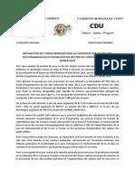 RÉACTION DE L'UDC PAR RAPPORT À L'AUGMENTATION DES PRIX DU CARBURANT ET DU GAZ DOMESTIQUE