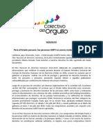 MANIFIESTO   Para el Estado peruano, las personas LGBTI no somos ciudadanas ni humanas