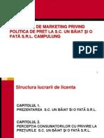 CERCETARE DE MARKETING PRIVIND POLITICA DE PRET LA S.C. UN BĂIAT ŞI O FATĂ S.R.L. CAMPULUNG