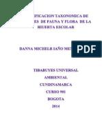CLASIFICACION TAXONOMICA DE ESPECIES  DE FAUNA Y FLORA  DE LA HIUERTA ESCOLAR.docx