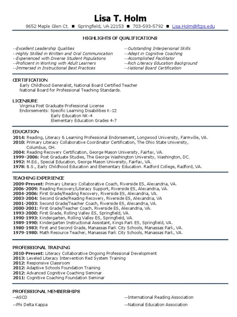 lisa holm--resume | Professional Certification | Virginia