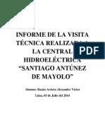Informe de La Visita Técnica Realizada a La Central Hidroeléctrica