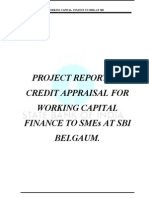 """""""Credit Appraisal for Working Capital Finance to Small and Medium Enterprises at State Bank of I"""
