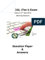 SSC CGL Tier I Question Paper - KG9