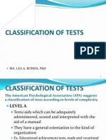 Classification of Tests