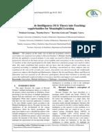 Infusing Multiple Intelligences (M I) Theory into Teaching