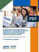 """""""Estudio de Investigación sobre la Adecuación de los Planes de Estudios Universitarios a las Necesidades del Mercado de Trabajo en España y Propuestas para su Mejora"""" - ALEMANIA"""