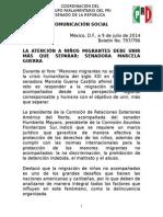 10-07-14 SENADORA MARCELA GUERRA, NIÑOS MIGRANTES NO ACOMPAÑADOS.
