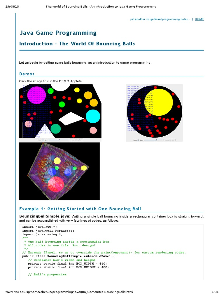 The world of bouncing balls an introduction to java game the world of bouncing balls an introduction to java game programming java programming language method computer programming baditri Images