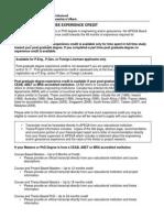 g Postgraduate Academic Studies Experience Credit