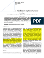 A Review of the Literature on Employee Turnover