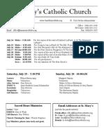 Bulletin for July 13, 2014
