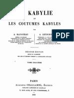 La Kabylie et les Coutumes kabyles 2/3, par Hanoteau et Letourneux, 1893
