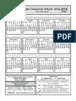 Updated 2014-15 Final School Calendar