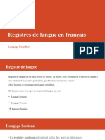 Registres de Langue en Français