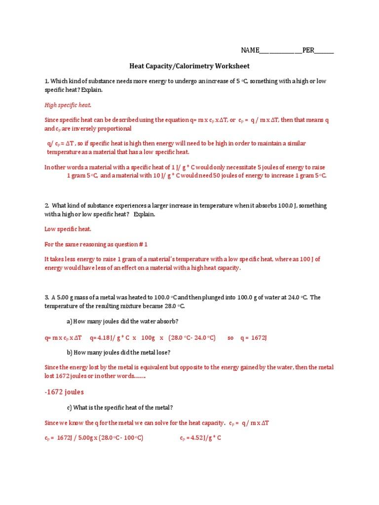 worksheet Specific Heat Capacity Worksheet heat capacity calorimetry worksheet answers heat