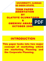 CORPORATE PLANNING AND MARKETING PLANNING