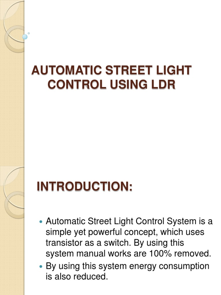 Automatic Street Light Control Pw Navi Ldr Led Circuit Using