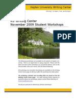 writing center november student workshops