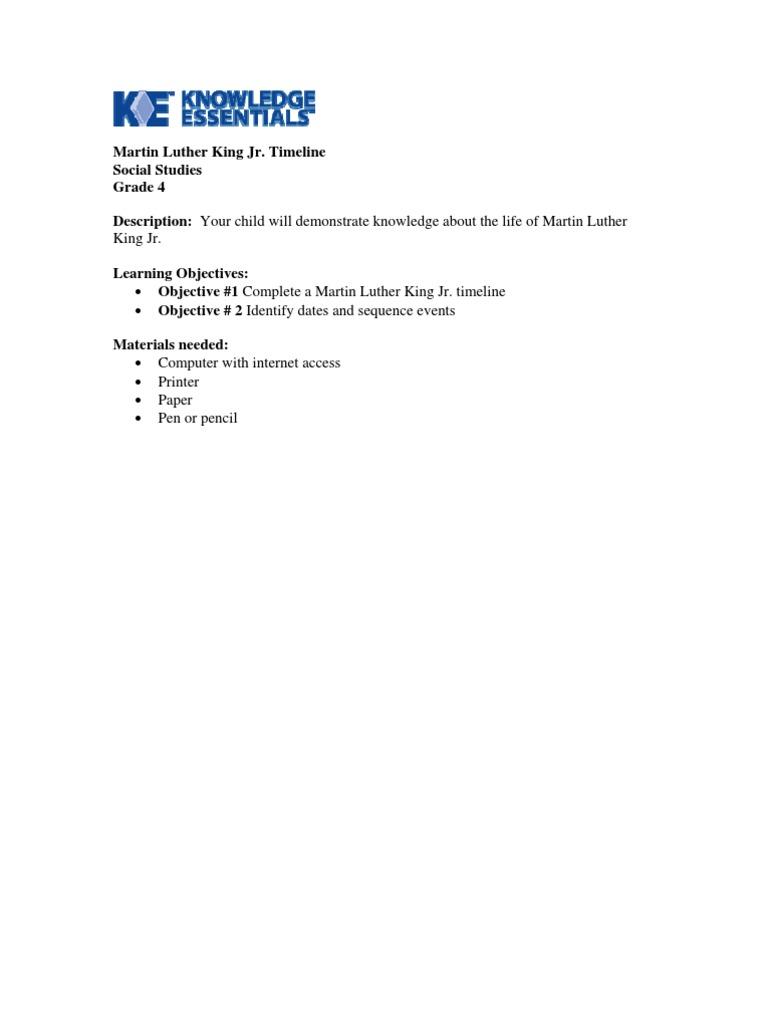 worksheet grade 4 social studies martin luther king timeline