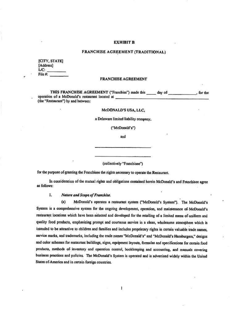 Mcdonalds Franchise Agreement Pdf Franchising Mc Donald S Franchise agreement template free download