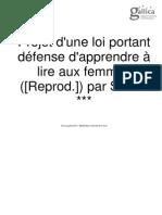 Projet d'Une Loi Portant Défense d'Apprendre à Lire Aux Femmes 1801 Sylvain Maréchal