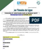 Rapport de Temoignages Fevrier 2014