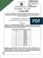 Decreto 172 Del 07 de Febrero de 2014 Tabla Salarial 2014 2277