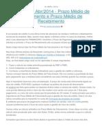 Newsletter Abr-2014 - Prazo Médio de Faturamento e Prazo Médio de Recebimento
