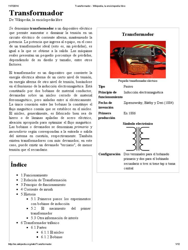 Circuito Wikipedia : Transformador wikipedia la enciclopedia libre pdf