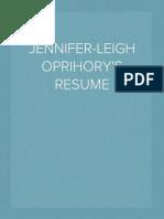 Jennifer-Leigh Oprihory's Resume