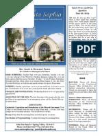 Santa Sophia Bulletin 29 Jun 2014