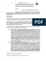 JEE declara inadmisible lista de Perú Libre a Chupaca.