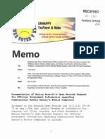 Documentation of Monica Parrott's Open Records Request for Official Government Information regarding Commissioner Kathie Gannon's Ethics Complaint