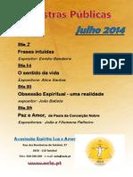 Palestras públicas julho 2014