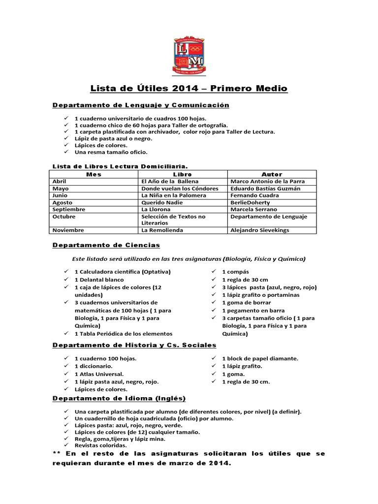 Lista de utiles ens media san felipe 2014 urtaz Gallery