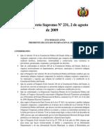 Decreto Supremo Nº 231, 2 de Agosto de 2009